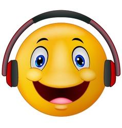 Emoticon with headphones vector image vector image