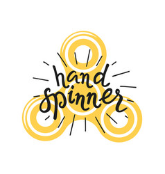 hand spinner lettering and icon vector image vector image