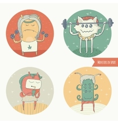 Set of fun monster icons doing sport exercises in vector image