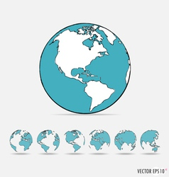 Set of Modern globe drawing concept vector image vector image