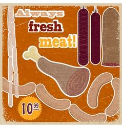Vintage card with a picture of meat products vector image vector image