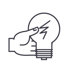 idea decision hand with lamp linear icon sign vector image vector image