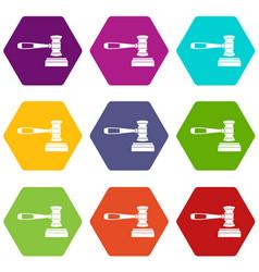 judge gavel icon set color hexahedron vector image vector image