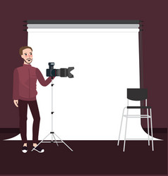 Photographer man standing holding camera with vector