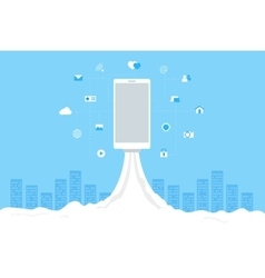 Rocket launch with mobile icons Wi-fi 3G 4G vector image