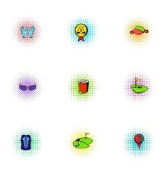 Training golf icons set pop-art style vector image vector image