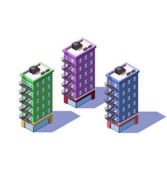 3d isometric mid-rise house with mini market vector image