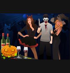 Adult dressing up in halloween costume vector