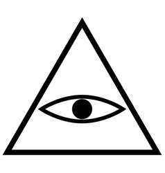 all seeing eye symbol the black color icon vector image