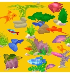 Aquarium fish seaweed underwater seamless pattern vector image