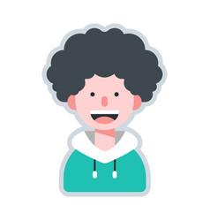 Avatar curly hair flat vector