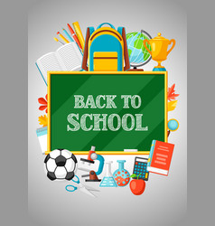 back to school background with education items vector image