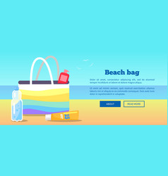 beach bag banner with inscription and view sea vector image