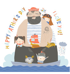 big father sailing with children and animals at vector image