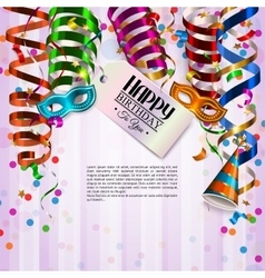 Birthday card with colorful curling ribbons vector