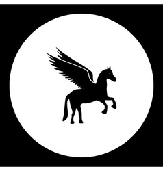 black isolated pegasus horse symbol simple icon vector image