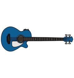 Blue acoustic bass guitar vector