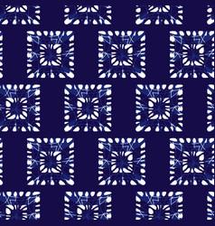 Blue shibori monochrome squares seamless vector