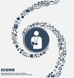 Broken arm disability icon sign in the center vector