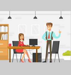 Business executive or boss giving advice to female vector