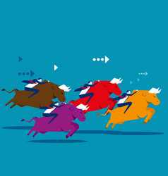 business people ride bull and competition concept vector image