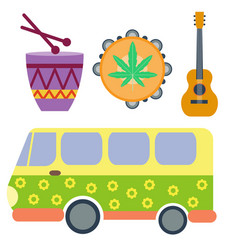 Campers vacation travel car and rastafarian music vector