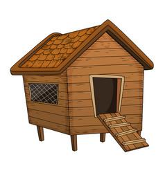 Cartoon chicken coop design isolated on white vector
