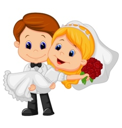 Cartoon Kids Playing Bride and Groom vector image