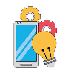cellphone with light bulb and gears vector image