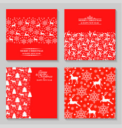 christmas cards with deer fir and greeting text vector image