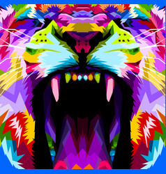 Close up face angry colorful lion vector