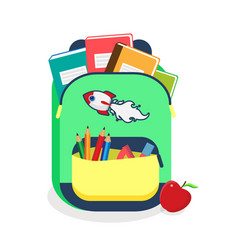 colorful schoolbag with school supplies backpack vector image