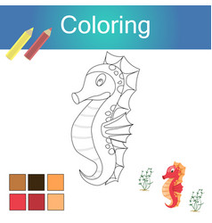 coloring book with animals outline artwork page vector image
