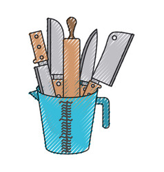 container with knives and rolling pin colored vector image