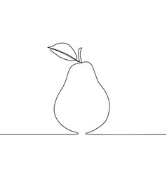 continuous one line pear fruit theme vector image