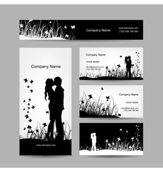 Couple kissing business cards for your design vector image