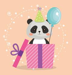 Cute bear panda with gift kawaii birthday card vector