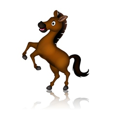 Cute brown horse cartoon posing vector