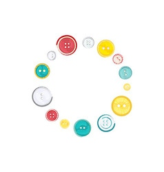Decorative Circle of Sewing Buttons over white vector image