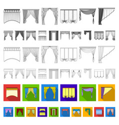 Different kinds of curtains flat icons in set vector