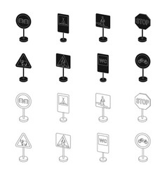 Different types of road signs blackoutline icons vector