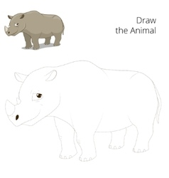 Draw animal rhino educational game vector image