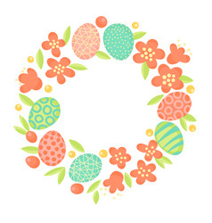 easter wreath flowers and painted eggs festive vector image
