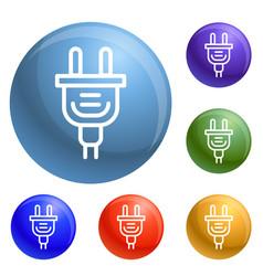 electric plug icons set vector image