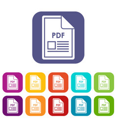 file pdf icons set vector image