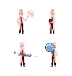 flat grey-haired doctor set vector image