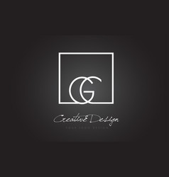 Gc square frame letter logo design with black and vector