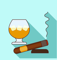 glass of whisky icon flat style vector image