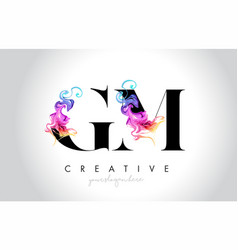 Gm vibrant creative leter logo design with vector