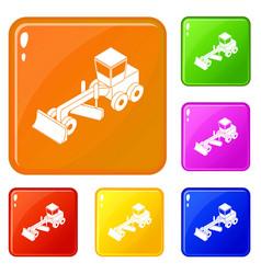 Grader icons set color vector